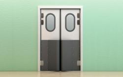 Маятниковые двери с фиксацией полотна