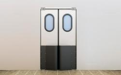 Маятниковые двери с гравитационными петлями